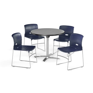 OFM 36-inch Round Multi Purpose Flip Top Table with 4 Vinyl Guest Chairs