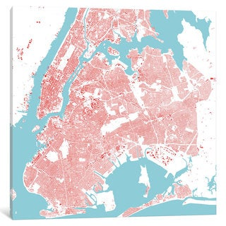 iCanvas New York City Urban Map (Red) by Urbanmap Canvas Print