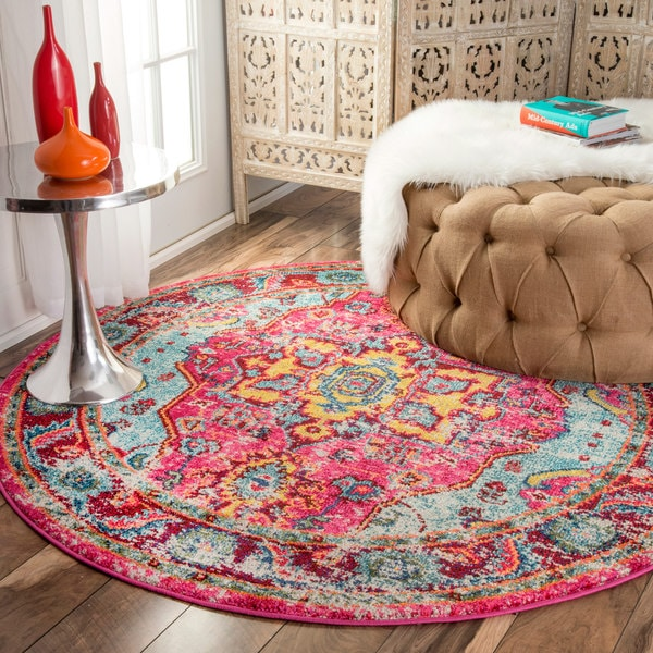 nuLOOM Distressed Abstract Vintage Oriental Multi Round Rug (5'3 Round)