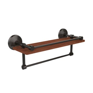 Monte Carlo Collection Black/Bronze/Chrome/Copper/Nickel Brass and Wood 16-inch Wall Shelf with Rail and Towel Bar