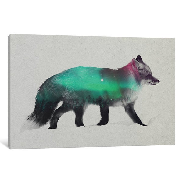 iCanvas Aurora Borealis Series: Fox by Andreas Lie Canvas Print