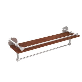 Allied Brass Prestige Skyline Collection 22-inch Ipe Ironwood Shelf with Gallery Rail and Towel Bar