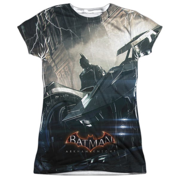 Batman Arkham Knight/Into The Night (Front/Back Print) Short Sleeve Junior Poly Crew in White