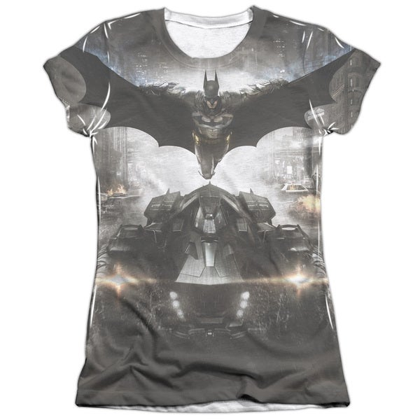 Batman Arkham Knight/Poster (Front/Back Print) Short Sleeve Junior Poly/Cotton Crew in White