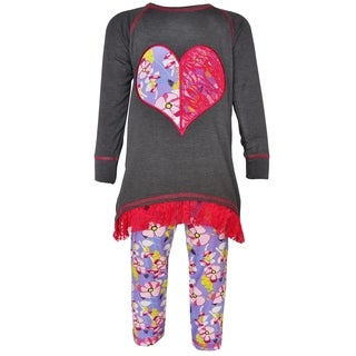 AnnLoren Girls' Cotton Boutique Floral and Lace Heart High-low Tunic and Leggings