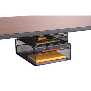 Safco Onyx Black Metal Mesh Mountable Hanging Desk Storage