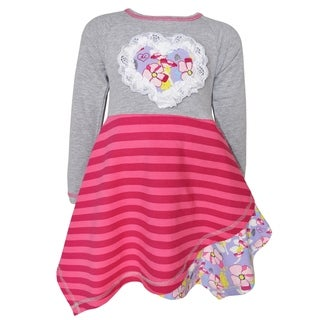 AnnLoren Girl's Boutique Grey/Pink/Purple/Yellow Cotton Floral Striped Hanky Dress