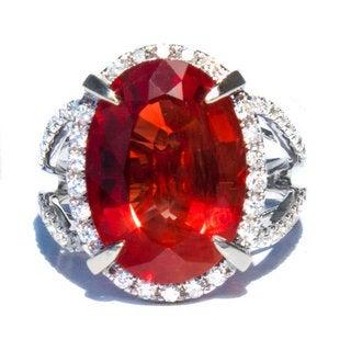 18k White Gold Red Oregon Sunstone and 3/5ct TDW Diamond Ring Size 6.5 (G, VS)