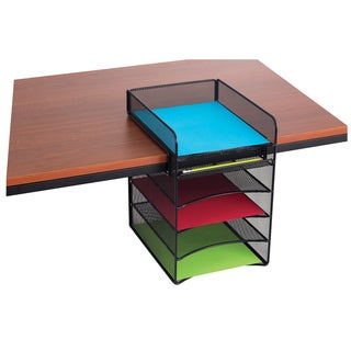 Safco Onyx Black Metal Mesh Horizontal Hanging Desk Storage