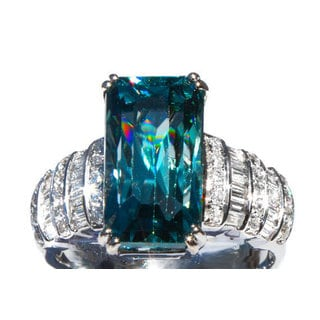 18k White Gold Cambodian Blue Zircon and 1ct TDW Diamond Ring Size 6.5 (G, VS)