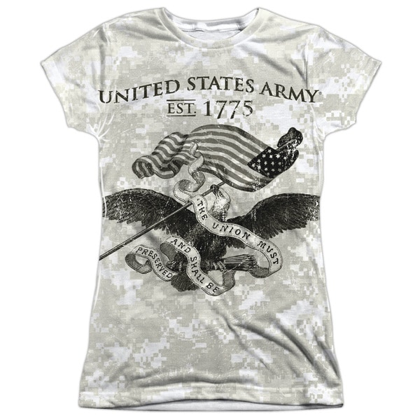 Army/Union Short Sleeve Junior Poly Crew in White