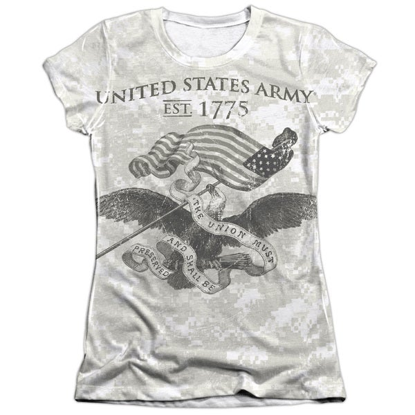 Army/Union Short Sleeve Junior Poly/Cotton Crew in White
