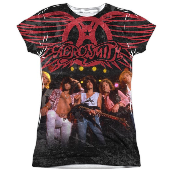 Aerosmith/Stage Short Sleeve Junior Poly Crew in White