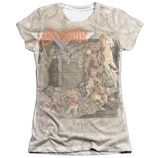 Aerosmith/Toys in The Attic Short Sleeve Junior Poly/Cotton Crew in White