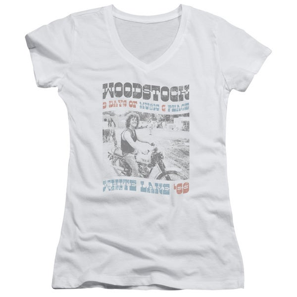 Woodstock/Rider Junior V-Neck in White