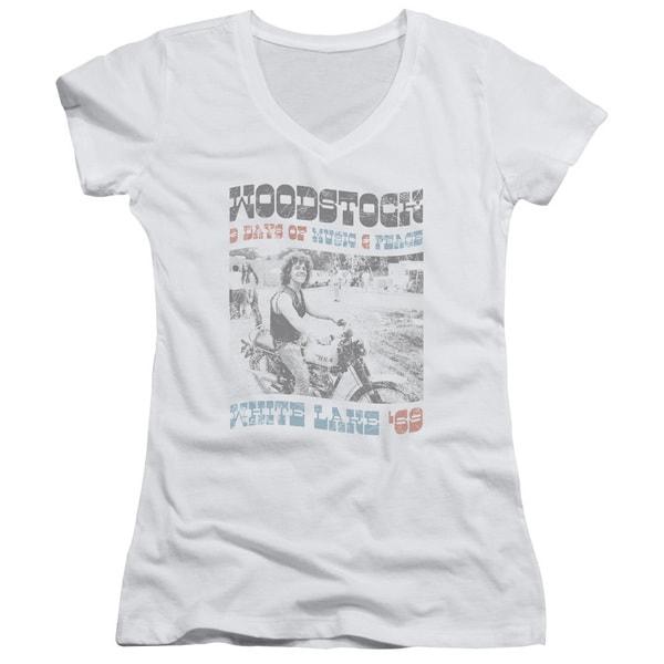 Woodstock/Rider Junior V-Neck in White