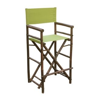 Zew Handcrafted Espresso Bamboo Bar Height Director Chair