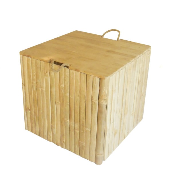Zew Handcrafted Indoor/ Outdoor Bamboo Storage Ottoman Trunk Box Chest Bench