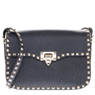 Valentino Rockstud Deep Denim Push-Lock Leather Shoulder Bag
