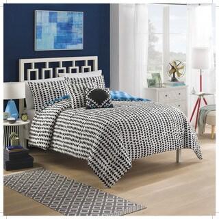 Vue Zazu Blue and Black Tribal 5-piece Reversible Cotton Comforter Set