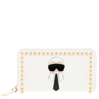 Fendi 'Karlito' Studded Zip-Around Continental Wallet