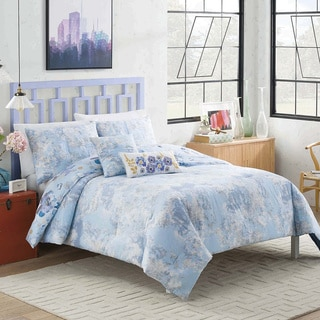 Vue Dharma Blue Floral 5-piece Reversible Cotton Comforter Set