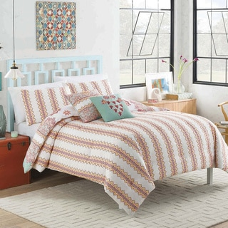 Vue Mantra Pink and Teal Floral Stripe 5-piece Reversible Cotton Comforter Set