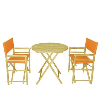 Zew Round 3-piece Bamboo Handcrafted Patio Set