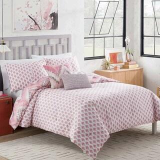 Vue Masie Pink Chevron 5-piece Reversible Cotton Comforter Set