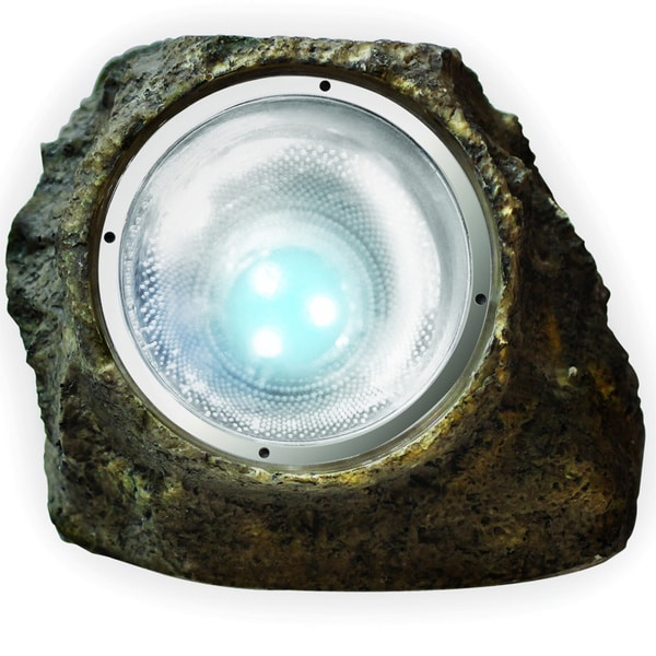 Sharper image Brown Plastic Solar LED Stone Light
