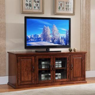 Oak Wood/Glass 60-inch Leaded TV Stand