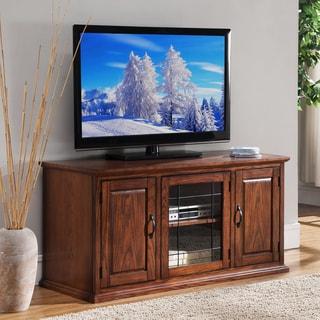 Oak Wood/Glass 50-inch Leaded TV Stand