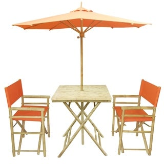 Zew Hand-crafted Bamboo 4-piece Square Patio Set