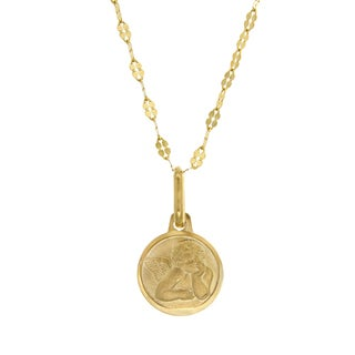 Sterling Essentials Italian 14K Gold 18 mm Raphael Angel Medal Necklace ( 16 Inch )