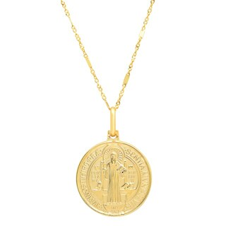 Sterling Essentials Italian 14K Gold 18 mm San Benito Medal Necklace ( 20 Inch )