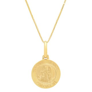 Sterling Essentials Italian 14K Gold 12 mm Guardian Angel Medal Necklace ( 16 Inch )