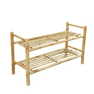 Zew Handcrafted Bamboo Entryway Organizational Shoe Rack
