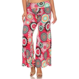 MOA Collection Plus Size Floral Medallion Palazzo Pants
