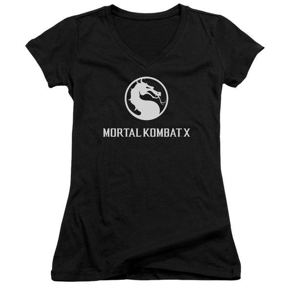 Mortal Kombat X/Dragon Logo Junior V-Neck in Black