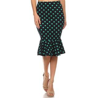 Women's Black Polyester/Spandex Polka Dot Skirt