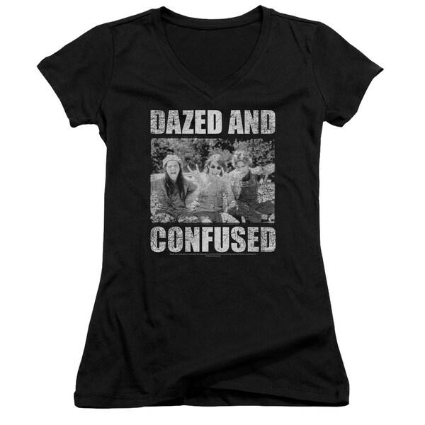 Dazed and Confused/Rock On Junior V-Neck in Black