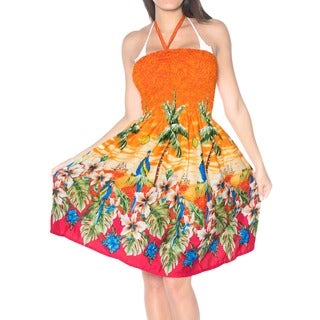 La Leela Women's Orange Silk Halter Maxi Strapless Floral Sundress