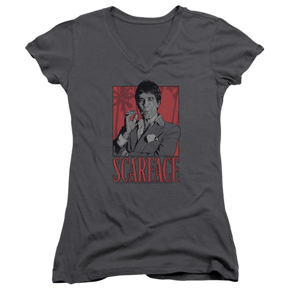 Scarface/Tony Junior V-Neck in Charcoal