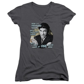 Three Stooges/Drink Junior V-Neck in Charcoal