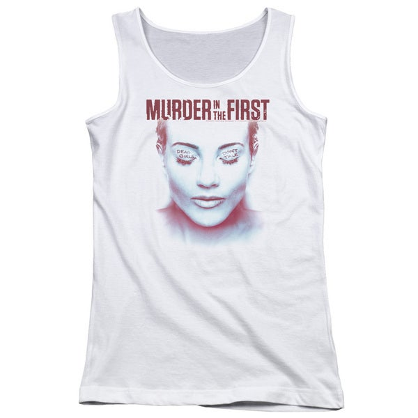 Murder in The First/Don't Talk Juniors Tank Top in White