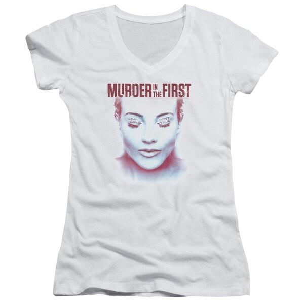 Murder in The First/Don't Talk Junior V-Neck in White