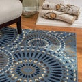 Christopher Knight Home Roxanne Lacy Indoor/Outdoor Geometric Blue Rug (5' x 8')