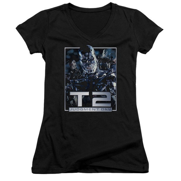 Terminator 2/T2 Robots Junior V-Neck in Black