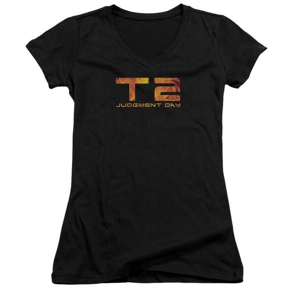 Terminator 2/Fire Logo Junior V-Neck in Black