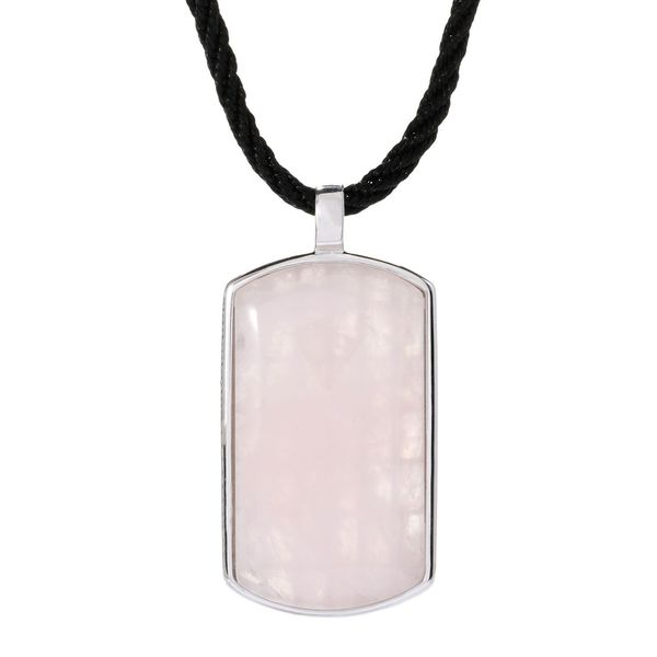 Sterling Silver 39 x 21 mm Rose Quartz Tag Pendant Necklace with Chain and Cord